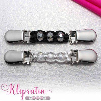 Napittoman neuletakin ja villatakin pidike nimeltä Klipsutin Mai. Kuvassa näkyy tuotteen kaikki vaihtoehdot.