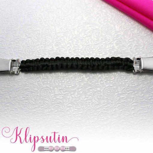 Napittoman neuletakin ja villatakin pidike nimeltä Klipsutin Olga. Kuvassa näkyy tuotteen musta vaihtoehto.