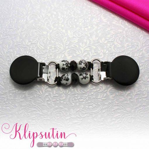 Napittoman neuletakin ja villatakin pidike nimeltä Klipsutin Malla. Kuvassa näkyy tuotteen musta vaihtoehto.