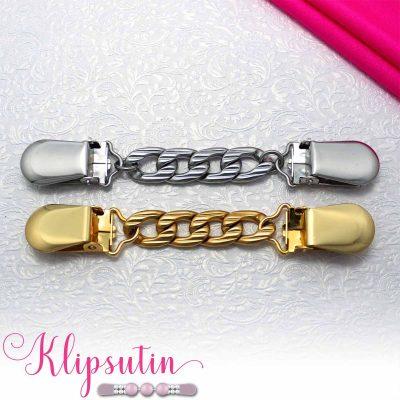 Napittoman neuletakin ja villatakin pidike nimeltä Klipsutin Kaski. Kuvassa näkyy tuotteen kaikki vaihtoehdot.