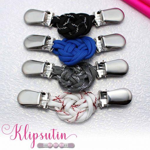 Napittoman neuletakin ja villatakin pidike nimeltä Klipsutin Solmu. Kuvassa näkyy tuotteen kaikki vaihtoehdot.