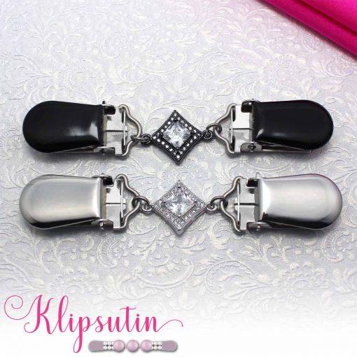 Napittoman neuletakin ja villatakin pidike nimeltä Klipsutin Sohvi. Kuvassa näkyy tuotteen kaikki vaihtoehdot.