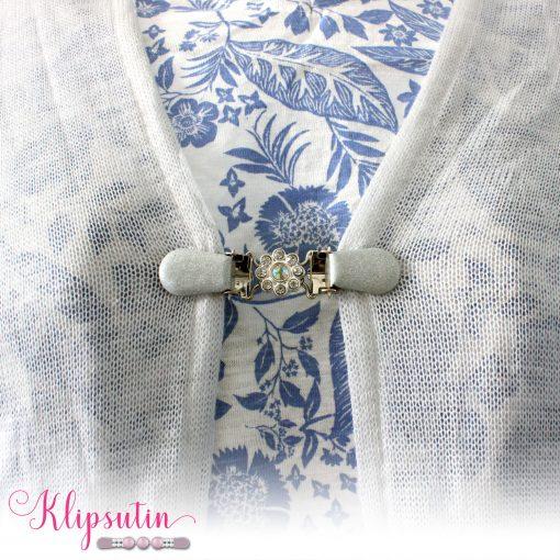 Napittoman neuletakin ja villatakin pidike nimeltä Klipsutin XXX. Kuvassa näkyy tuote käytössä.