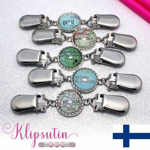 Napittoman neuletakin ja villatakin pidike nimeltä Klipsutin Karttaset Suomi.