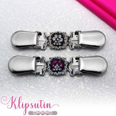 Napittoman neuletakin ja villatakin pidike nimeltä Klipsutin Kristallitassu. Kuvassa näkyy tuotteen kaikki vaihtoehdot.
