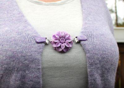 Napittoman neuletakin ja villatakin pidike nimeltä Klipsutin Daisy. Kuvassa näkyy tuote käytössä.